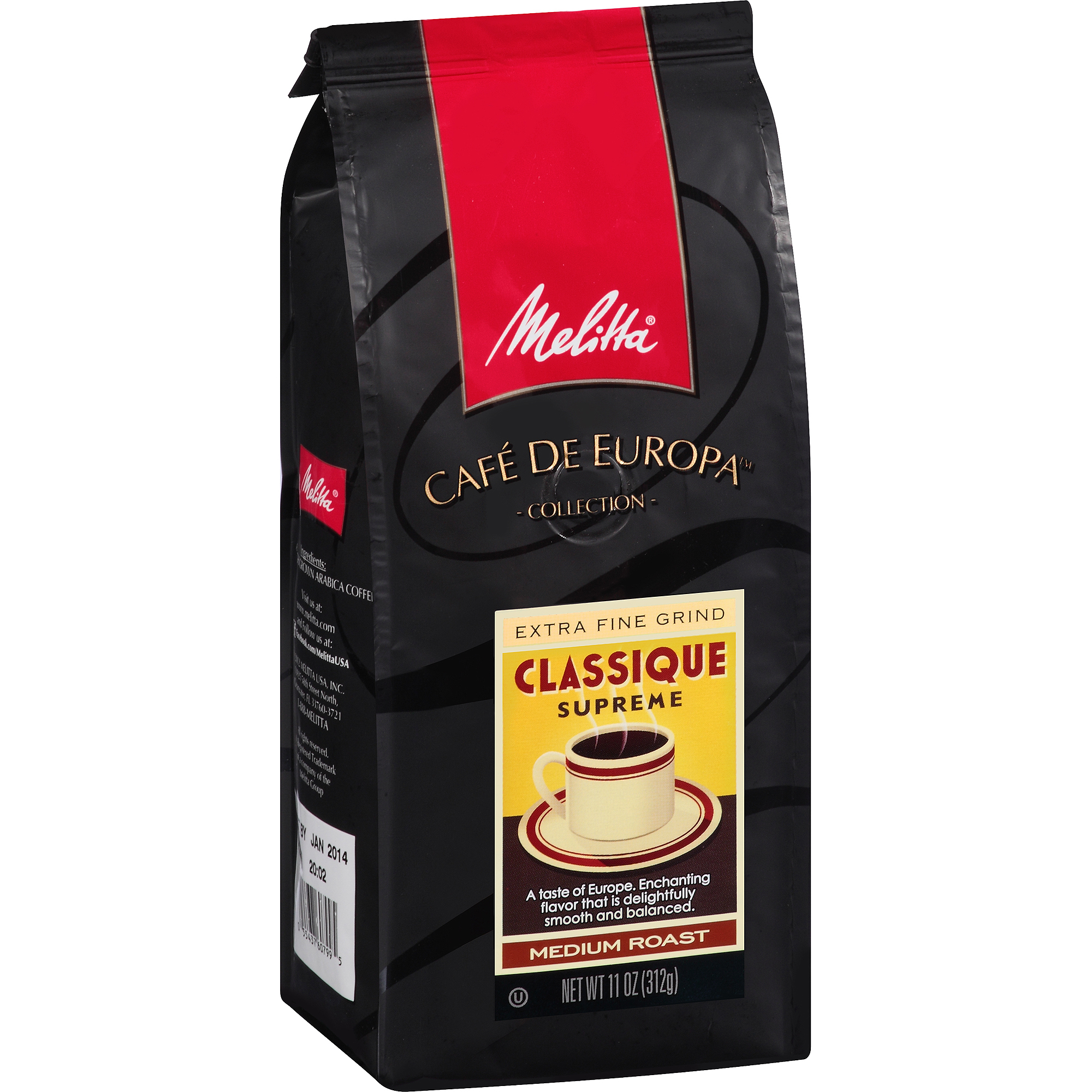 Melitta Cafe de Europa Medium Roast Extra Fine Grind Classique Supreme Gourmet Coffee, 11 oz