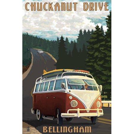 Chuckanut Drive - Bellingham, WA - VW Van Print Wall Art By Lantern Press ()