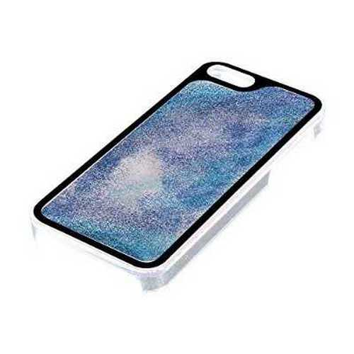 Refurbished Pilot Automotive CA-6121EQBS Liquid Glitter Case For Apple iPhone 5/5S/SE, Blue and Silver