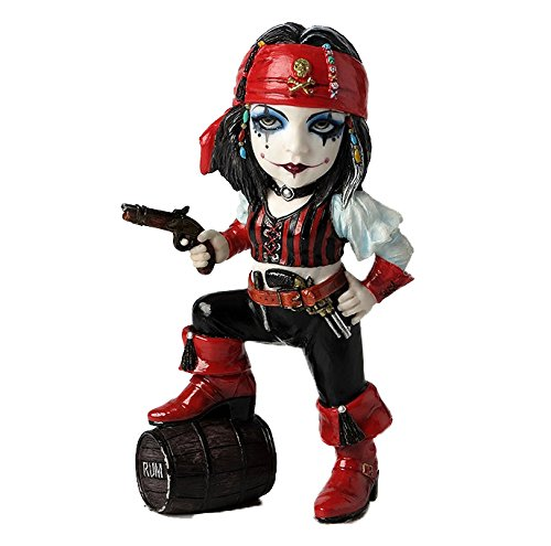"6"" Cosplay Kids Pirate Girl & Barrel of Drum Gothic Decor..."