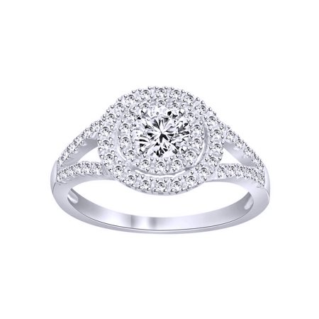 White Cubic Zirconia Halo Ring In 14k White Gold Over Sterling ... 16ab4f547d90