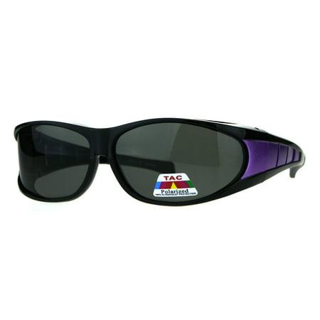 Mens Polarized Sport Oval Fit Over 58mm Plastic Sunglasses Black Purple