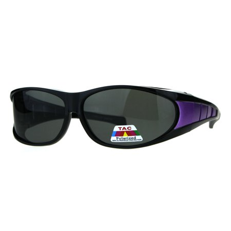 Mens Polarized Sport Oval Fit Over 58mm Plastic Sunglasses Black Purple ()