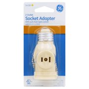 GENERAL ELECTRIC 2-Outlet Polarized Light Socket Adapter with Pull Chain, Ivory