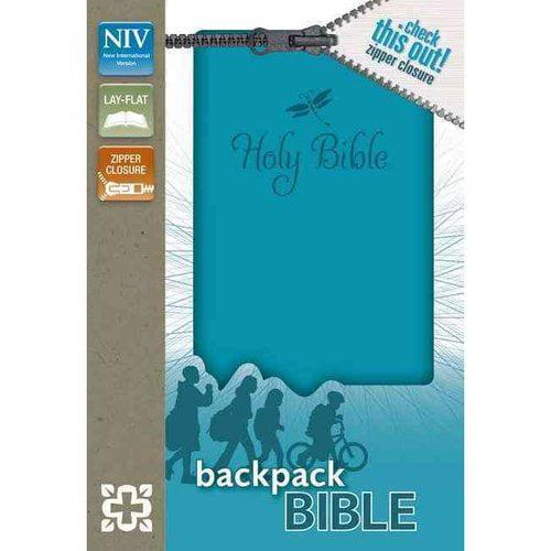 Holy Bible: New International Version Teal Italian Duo-Tone Zipper Closure Backpack Bible