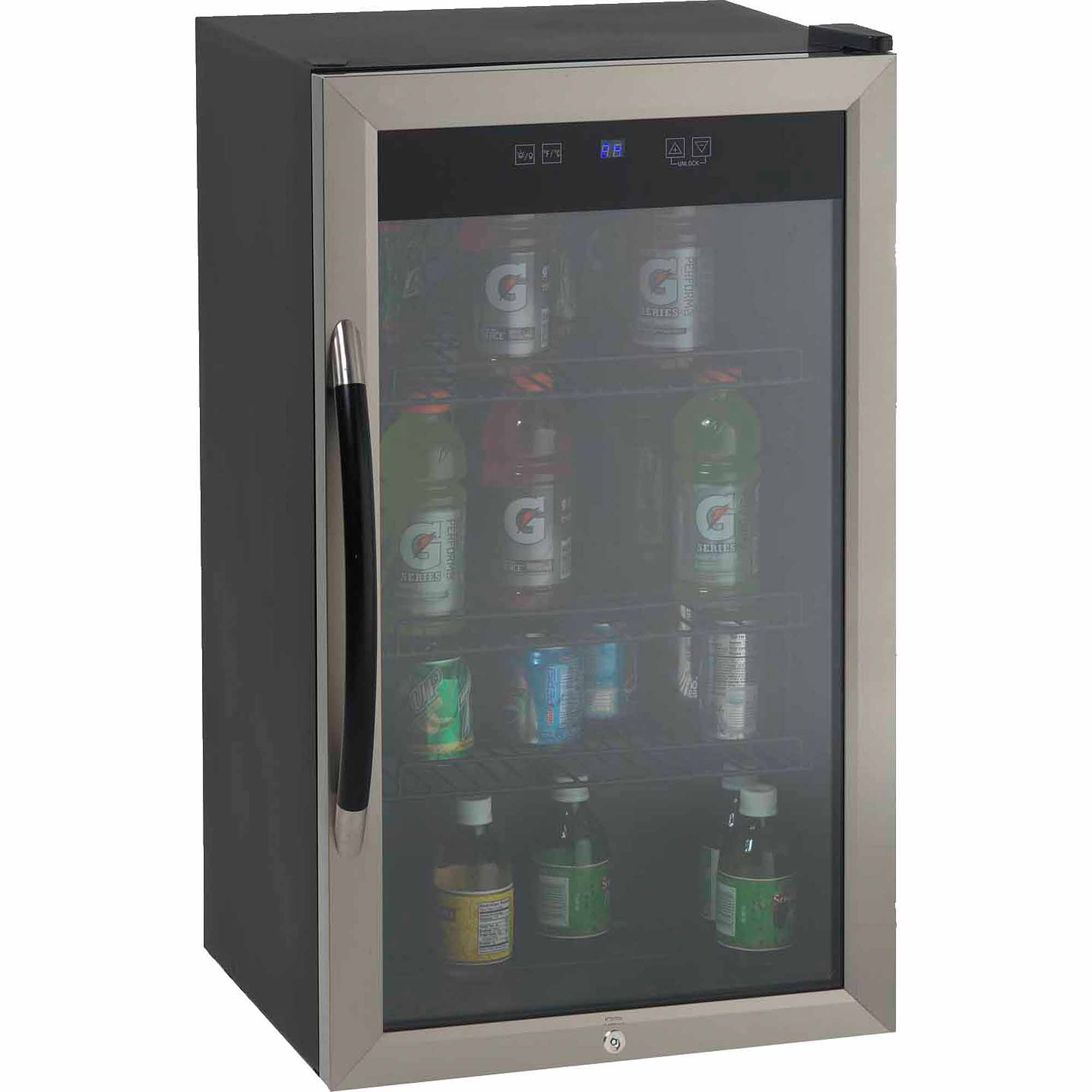 Avanti Showcase Beverage Cooler with Stainless Steel Door Frame and Dual-Pane Glass Door