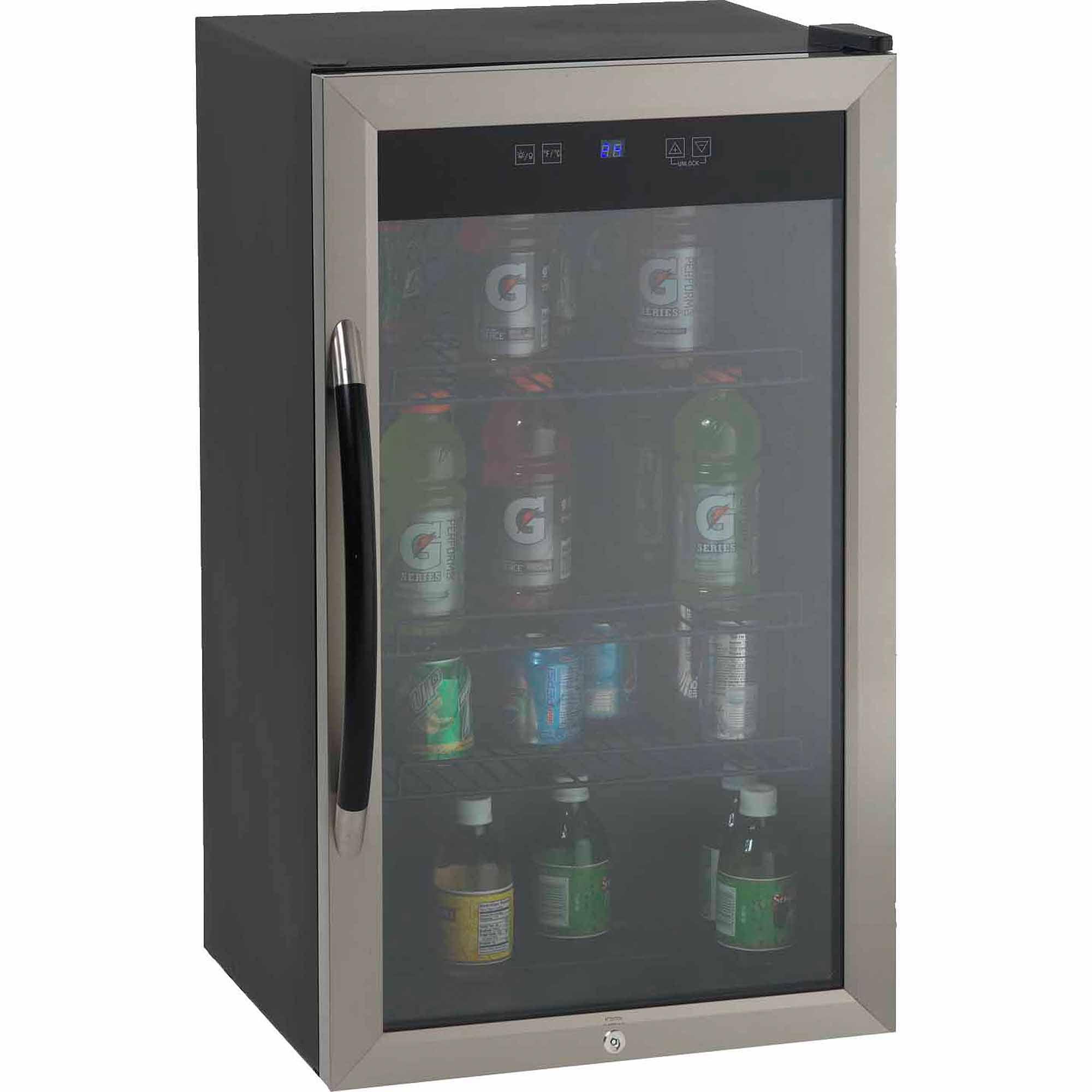 Avanti Showcase Beverage Cooler with Stainless Steel Door Frame and Dual-Pane Glass Door
