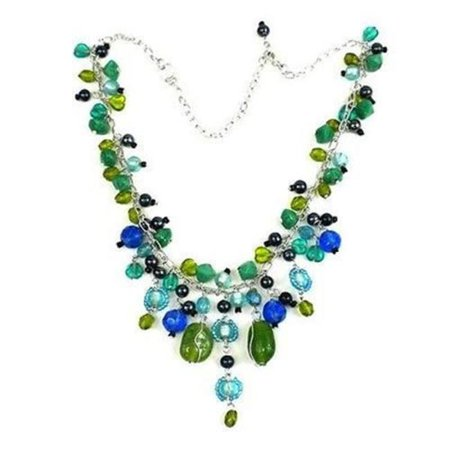 Green and Blue Glass Bead Charm - Light Blue Beaded Necklace