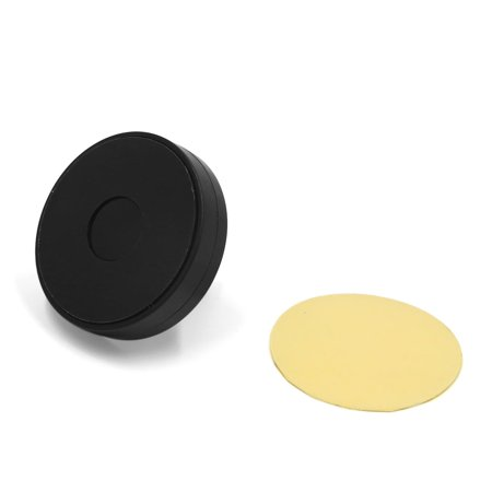 Black Round Nano Air Vent Mounting Car Mobile Phone GPS Holder Stand Gold Tone