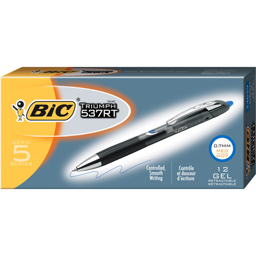 BIC Triumph 537RT Retractable Gel Pen, 0.7mm, Blue, 1-Dozen