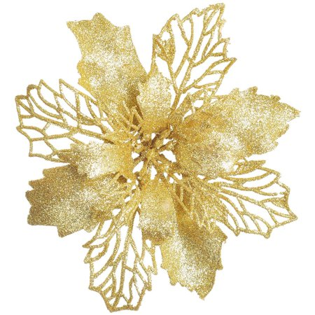 Coolmade 16 Pcs Christmas Poinsettia Flowers, Artificial Flowers Glitter Poinsettia Christmas Wreath Christmas Tree Ornaments for Christmas Decorations, Gold ()