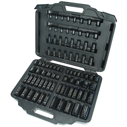 "86 Piece 3/8"" and 1/2"" Drive Standard and Deep, SAE and Metric Impact Socket Set"
