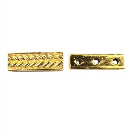 Bar 3 Strand - CG-464 18K Gold Overlay Multi Strand Grain Design Spacer Bar With 3 Hole