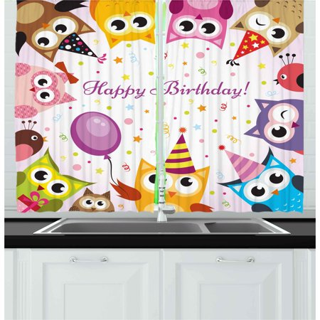 Kids Birthday Curtains 2 Panels Set, Birthday Party Owl Family with Colorful Cone Hats on Confetti Backdrop Art, Window Drapes for Living Room Bedroom, 55W X 39L Inches, Multicolor, by Ambesonne - Confetti Cones
