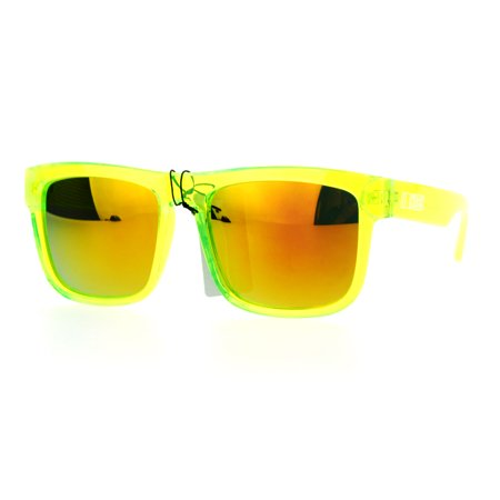 Kush Mens Neon Pop Horn Rim Sport Horned Sunglasses Green