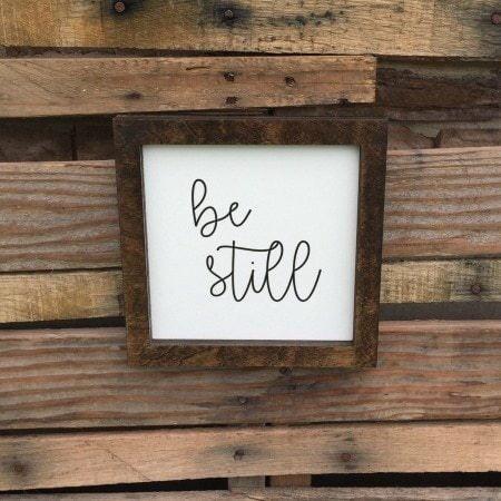 Wooden Marker (Be Still Wooden Christian Sign Farmhouse Decor Farmers Market)