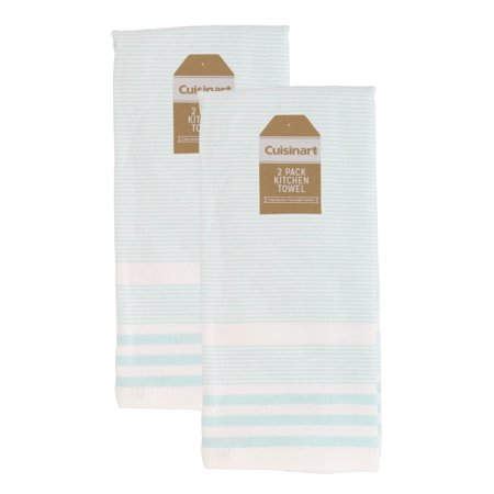 Cuisinart 100% Cotton Hand and Dish Kitchen Towels - Absorbent, Lightweight, Soft & Machine Washable- Dry Hands and Dishes - Set of 2, 16 x 28 Towels, Casual Stripe- Mint
