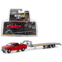 """2017 Ford F-150 Pickup Truck Red with Gooseneck Trailer """"Hitch & Tow"""" Series 1/64 Diecast Models by Greenlight"""