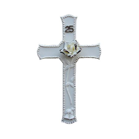 Jasmine Porcelain Cross (25th Silver Wedding Anniversary Porcelain Religious Wall Cross 8
