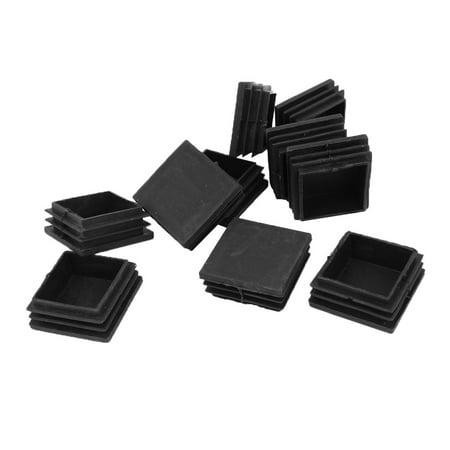 Unique Bargains 10pcs 45x45mm Plastic Square Tubing Tube Pipe End Plug Caps Inserts Black