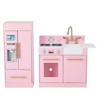 Teamson Kids Little Chef Chelsea Modern Play Kitchen - Pink / Gold