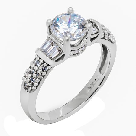 14K Solid White Gold 1 Ct. Round Solitaire with Stones on band CZ Engagement Ring