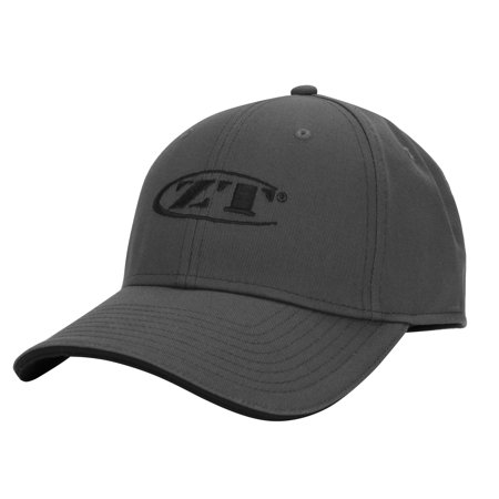 Top Hat Construction (Zero Tolerance M/L Charcoal Ball Cap with Dark Gray-Tipped Bill and Embroidered Brand Logo; All-Cotton Structured Twill; 6-Panel Construction with Top-Stitching on Cap; Eight Rows of Stitching on)