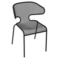 BFM Seating Maze Galvanized Steel Stackable Patio Dining Chair