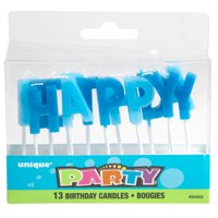 Happy Birthday Letter Candles, Royal Blue & Light Blue, 13pc