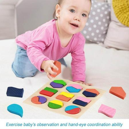 Rdeghly Enfants jouet éducatif en bois ensemble géométrique de blocs de construction puzzle bébé outil d'apprentissage précoce, jouet géométrique, blocs de construction en bois - image 1 de 8