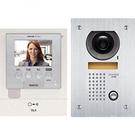 Aiphone JFS-2AEDF Audio/Video Intercom System with Flush-Mount Door Station with Stainless Steel Faceplate for Single Door, Accepts an Additional Door Station and Up to Two Sub-Master Stations System Door Station