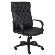 Boss Office Products Black Button Tufted Executive Chair with Knee Tilt