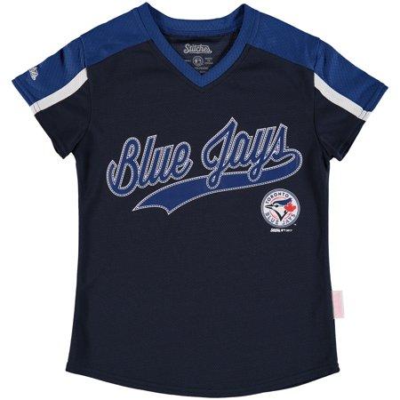 Toronto Blue Jays Stitches Girls Youth V-Neck Jersey T-Shirt - Navy/Royal