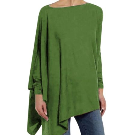 Women Round Collar Irregular Spring Solid Color Loose Long Sleeve Casual Simple Wild T-Shirt