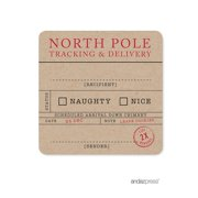 North Pole Tracking  Christmas Square Gift Label Stickers, 40-Pack