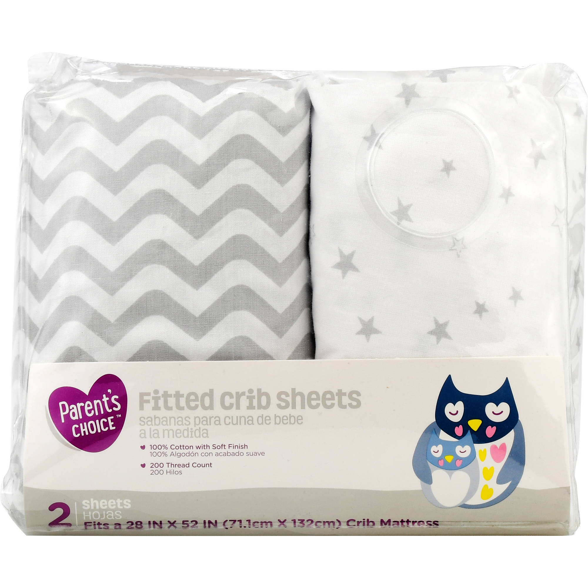 Parent's Choice Fitted Crib Sheets, Gray Print, 2 Pack