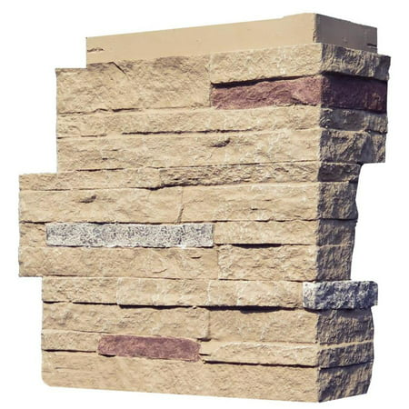 NextStone™ Faux Polyurethane Stone Outside Corner - Stacked Stone Sandy Buff