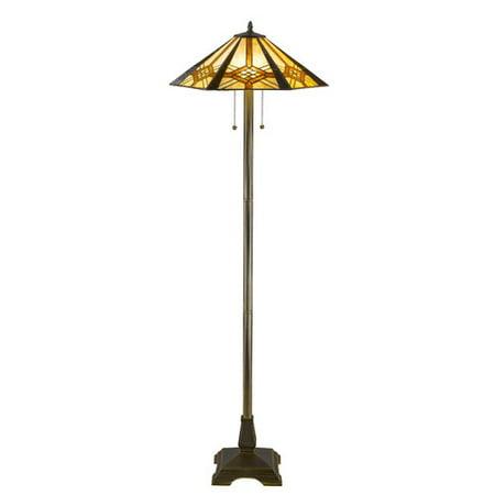 Serena d'italia Tiffany 2 light Hex Mission 58 in. Bronze Floor Lamp