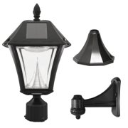 """Gama Sonic GS-105FPW-BW Baytown II, Outdoor Solar Light and 3"""" Pole Pier & Wall Mount Kits, Lamp Only, Bright White LED, Black"""