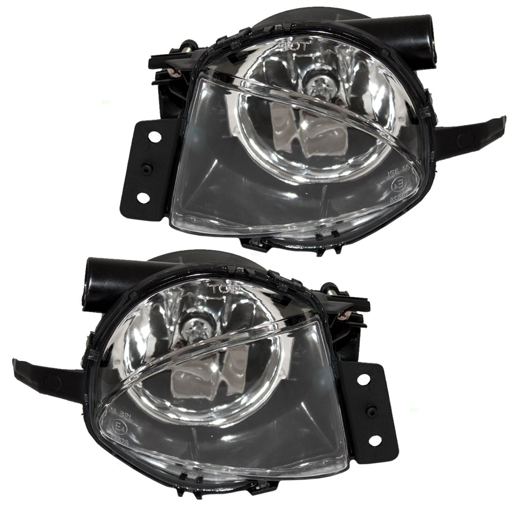 Pair Set Fog Lights Lamp Lens Replacement for 06-08 BMW 3 Series E90 E91 63176948373 63176948374