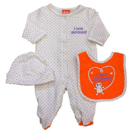 Halloween Onesies Target (Infant Girls I Love Mummy Polka Dot Halloween Sleeper Coverall Bib & Hat)