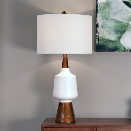 dcor therapy tl14114 satin white and faux wood table lamp,