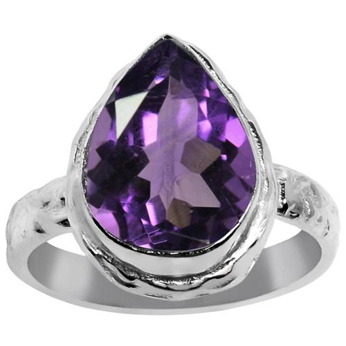 Orchid Jewelry Silver Overlay 5 3/5ct. Pear-cut Genuine Amethyst Unique Ring 7