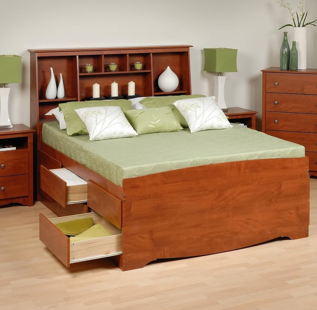 Tall Captains Platform Storage Bed W Bookcase Headboard Bed Size