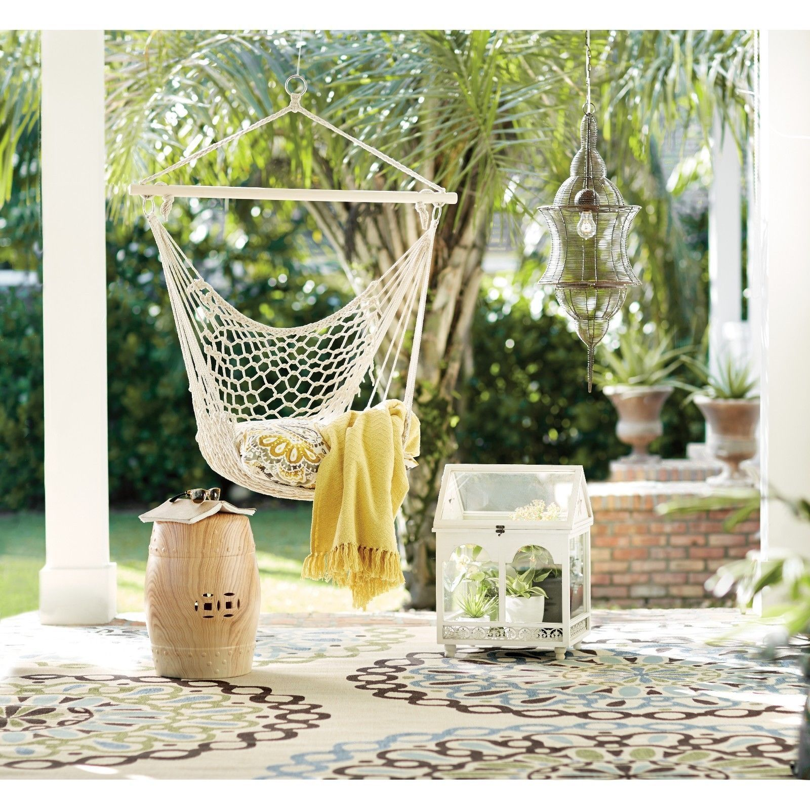 Zimtown Outdoor Hanging Swing Cotton Hammock Chair Solid Rope Yard Patio Porch Garden