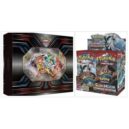 Pokemon TCG The Best of XY Premium Trainer Collection Box and Sun & Moon Crimson Invasion Booster Box Card Game Bundle, 1 of (Best Psychic Pokemon Sun)