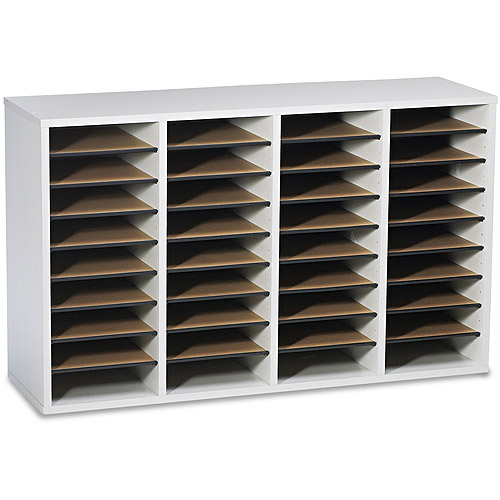 Safco Wood/Laminate Literature Sorter, 36 Sections, 39 1/4 x 11 3/4 x 24, Gray