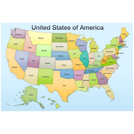 United States of America Map Educational Poster Print Poster - (Map Of The Unites States Of America)