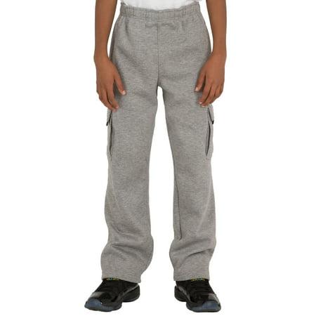 vibes pro active boy's grey cvc fleece cargo pull on pants open (Pro Cargo)