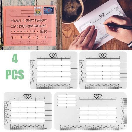 TSV 4 Pieces Envelope Addressing Guide Lettering Stencil Ruler and Templates Fits Wide Range of Envelopes for Writing, Making Thank You Card, Festival Cards, Wedding Invitations ()